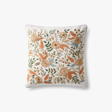 Rifle Paper Co. Ivory Embroidered Floral Pillow Pillow Rifle Paper Co.
