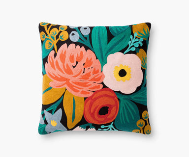 Rifle Paper Co. Vintage Blossoms Embroidered Pillow - Black Pillow Rifle Paper Co.