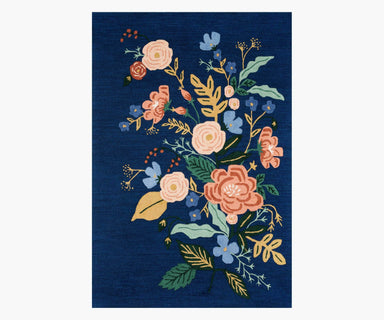 Rifle Paper Co. x Loloi Les Fleurs Rug - Floral Vines Indigo/Multi Rug Rifle Paper Co.