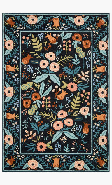 Rifle Paper Co. × Loloi Les Fleurs Rug - Lourdes Black Rug Rifle Paper Co.