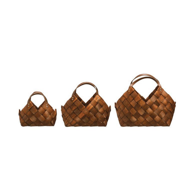 Seagrass Baskets with Leather Handles Basket Creative Coop