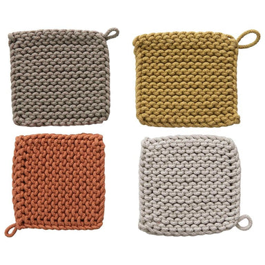 Square Cotton Crocheted Pot Holder Kitchen Creative Coop