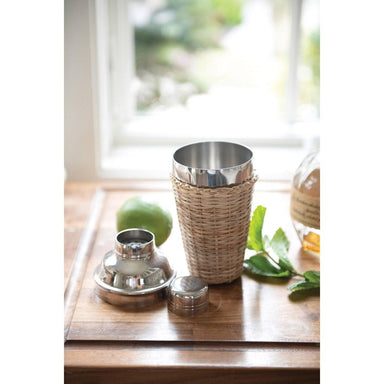 Stainless Steel Cocktail Shaker with Woven Rattan Sleeve Drinkware Creative Coop