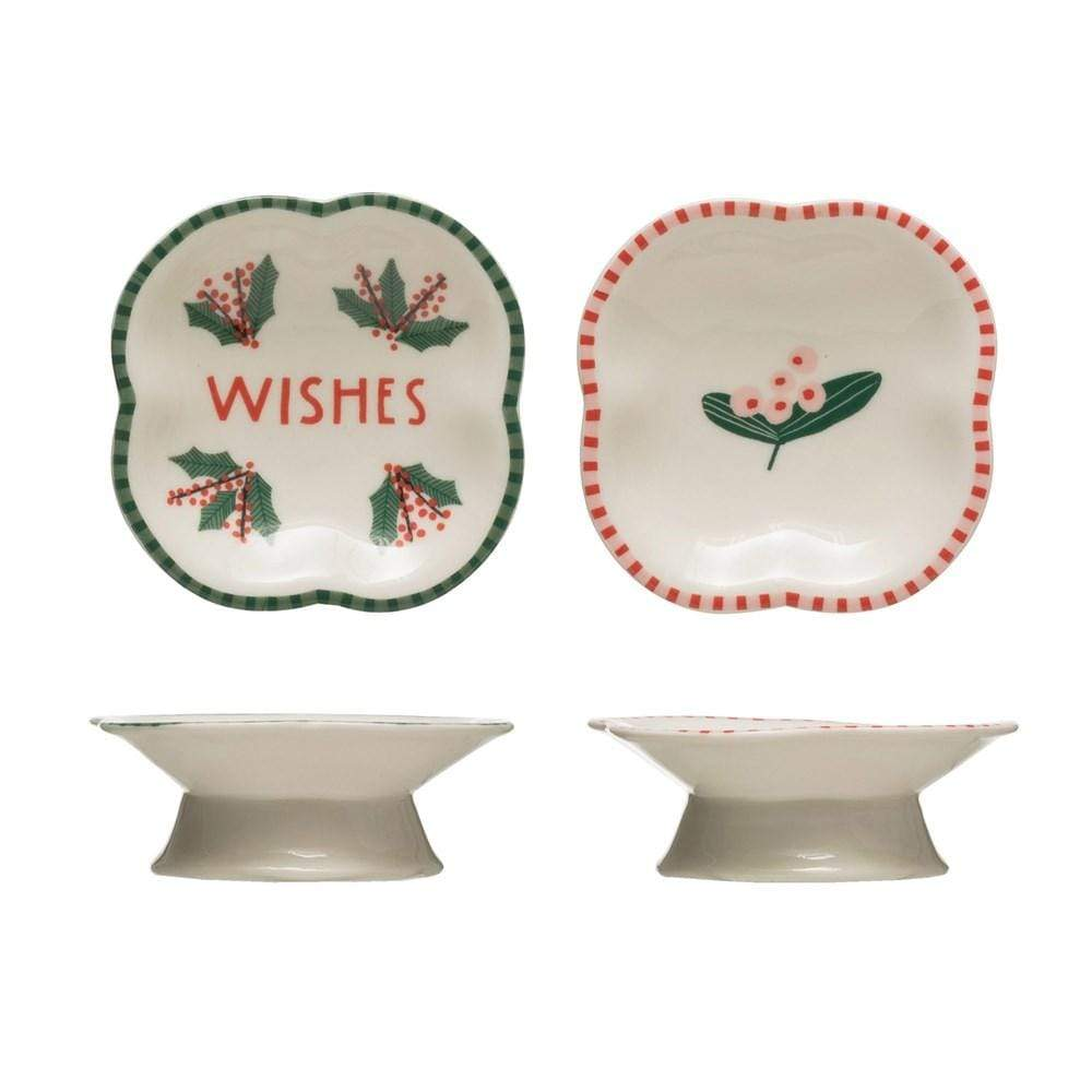 Stoneware Pedestal Dish w/ Holiday Image Christmas Creative Coop