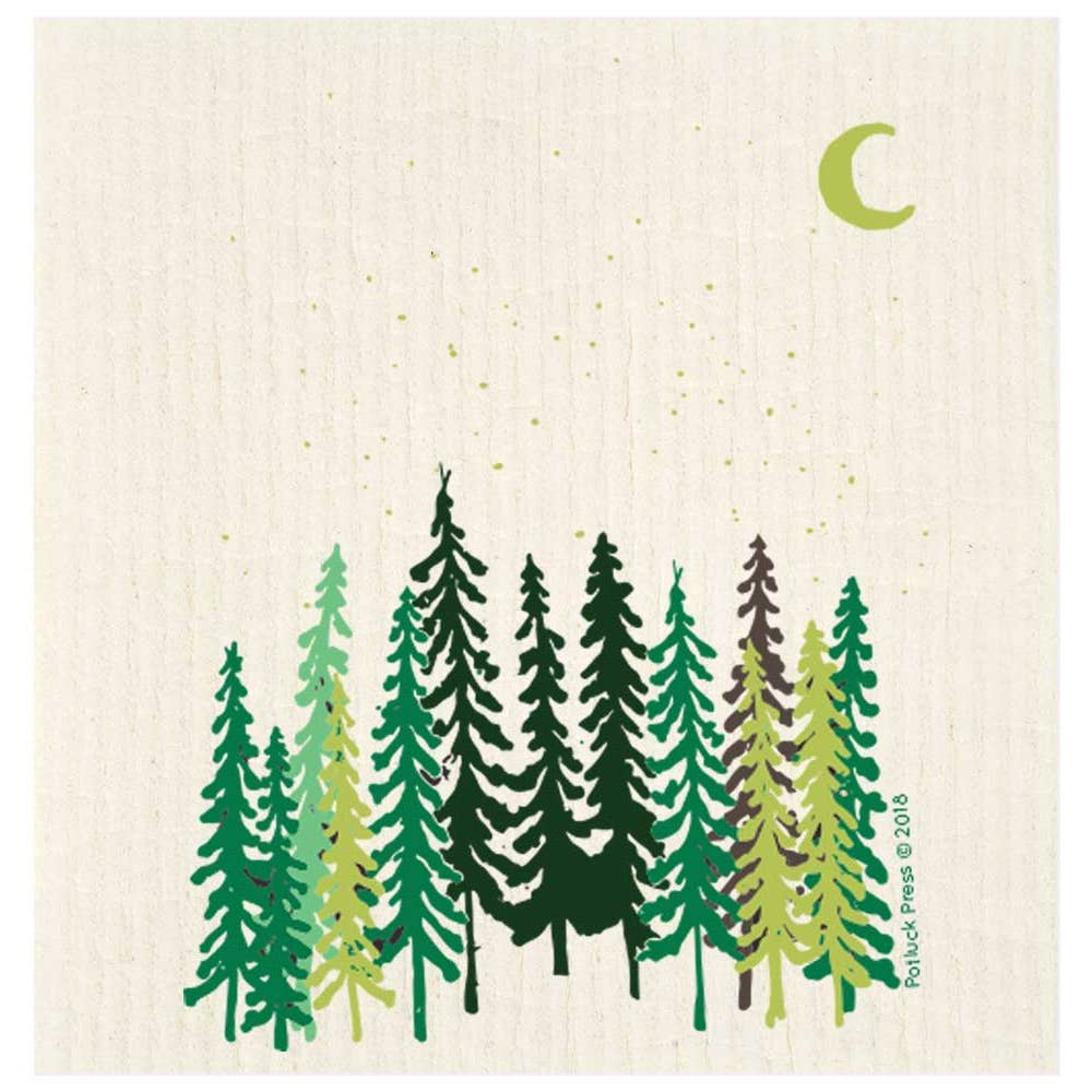 Tall Trees and Moon Swedish Dishcloth Swedish Dishcloth Potluck Press