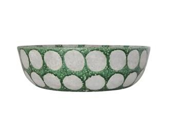 Terracotta Bowl - Distressed Green with Dots Bowl Creative Coop