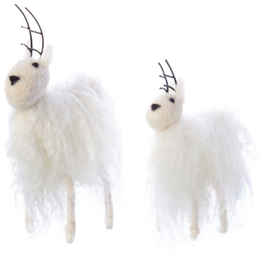White Felt and Curly Yarn Deer Christmas Option 2