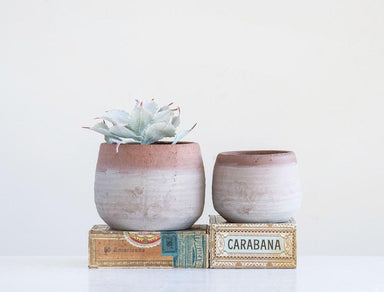Whitewashed Terracotta Planter Planter Creative Coop