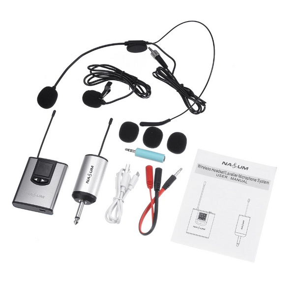 Hunters Creek™ NASUM UHF Wireless Headset Microphone/Lavalier Lapel Mic with Bodypack Transmitter and Mini Rechargeable Receiver 1/4'' Output - Carolina Superstore