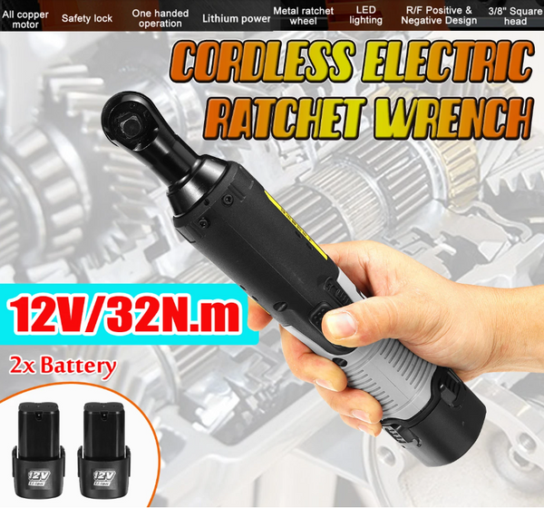 Hunters Creek™ Cordless Electric Wrench Right Angle Power Ratchet Wrench Tool with 2 Battery - Carolina Superstore