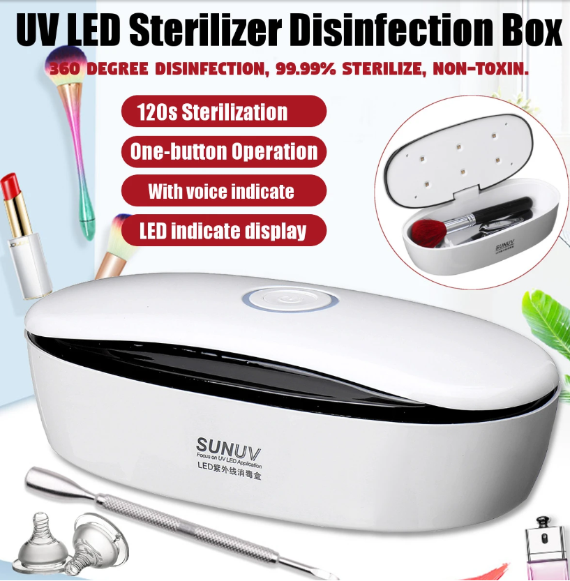 Hunters Creek™ Multifunctional UV LED Disinfection Box for Beauty Nail Tools Makeup Brush Toothbrush Face Mask Sterilizer - Carolina Superstore