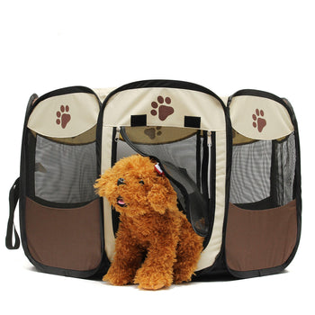 Pet Dog Cat Playpen Tent Portable Exercise Fence Kennel Cage Crate - Carolina Superstore