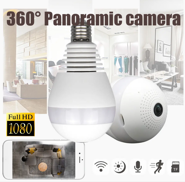 Hunters Creek™ 360° Panoramic 1080P IR Camera Light Bulb Wifi Fisheye CCTV Security Camera - Carolina Superstore