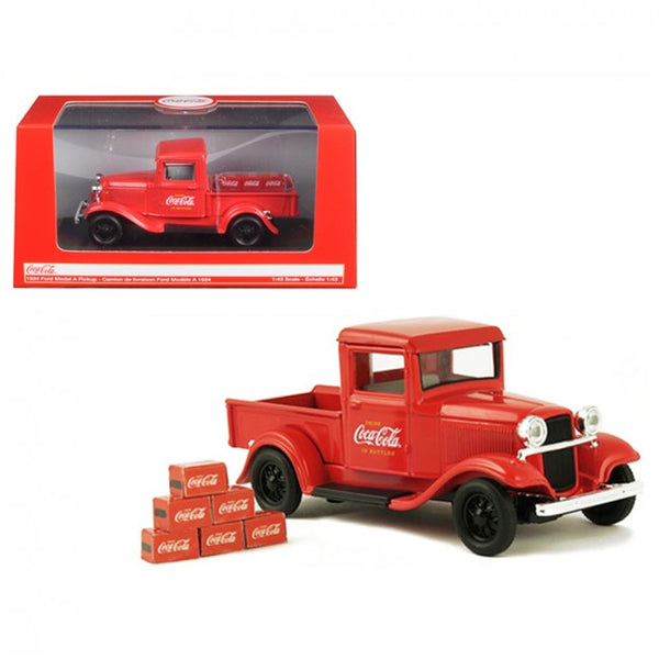 Cypress Creek™ 1934 Ford Model A Pickup Truck Red with 6 Bottle Cartons Coca-Cola 1/43 Diecast Model Car by Motorcity Classics - Carolina Superstore