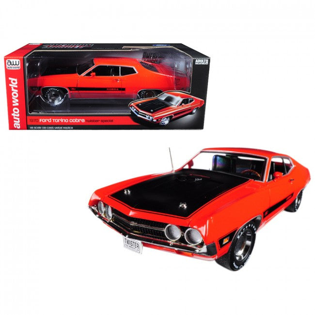 Cypress Creek™ 1970 Ford Torino Cobra Twister Calypso Coral Orange Limited Edition to 1002 pieces Worldwide 1/18 Diecast Model Car by Autoworld - Carolina Superstore