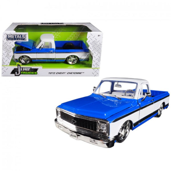 Cypress Creek™ 1972 Chevrolet Cheyenne Pickup Truck Blue and White Just Trucks 1/24 Diecast Model Car by Jada - Carolina Superstore