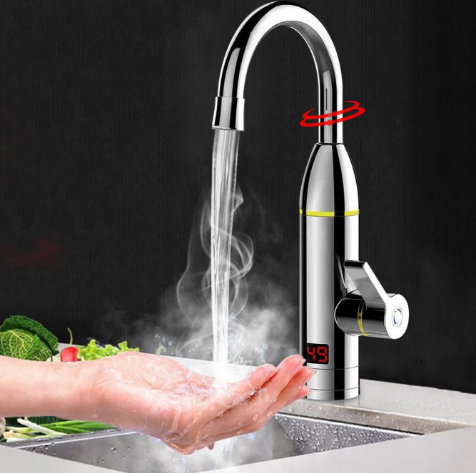 Hunters Creek 220V 3kW Instant Electric Hot Faucet Fast Water Heater Bathroom Kitchen Tap LED Display - Carolina Superstore