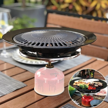 Hunters Creek™ Portable Korean Outdoor Barbecue Gas Grill Pan Camping Gas Stove Plate BBQ Roasting Cooking Tool Sets - Carolina Superstore