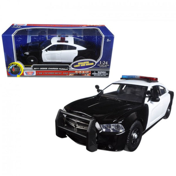 Hunters Creek 2011 Dodge Charger Pursuit Police Car Black and White with Flashing Light Bar Front Rear Lights and 2 Sounds 1/24 Diecast Model Car - Carolina Superstore