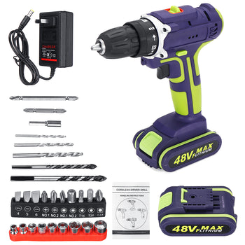 Hunters Creek™ Hammer Drill Hand Tool Cordless Double Speed Electric Power Torque Drills With 2 Batteries - Carolina Superstore