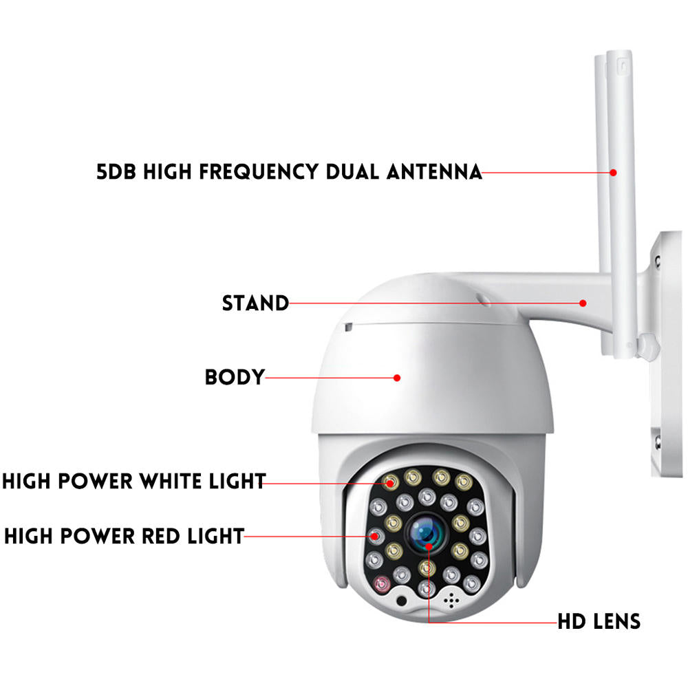 Hunters Creek™ Home Security Video Camera Indoor Outdoor Light Sound Alarm Wifi Action Night Vision Waterproof - Carolina Superstore