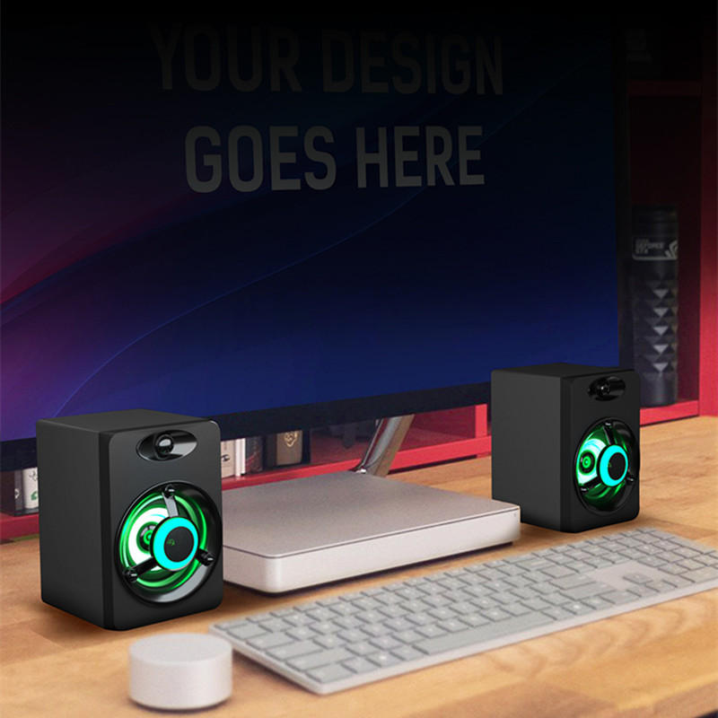 Computer Speaker Colorful LED Light Bass Stereo Dual Speakers Phone PC Laptop - Carolina Superstore