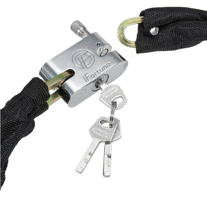 Hunters Creek™ BIKIGHT 1.8m Metal Chain Lock Outdoor Motorbike Bicycle Scooter Padlock Cycling E-bike Lock - Carolina Superstore