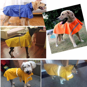 Dog Raincoat Waterproof Outdoor Rain Coat Jacket Coat Fleece Reflective Safe - Carolina Superstore