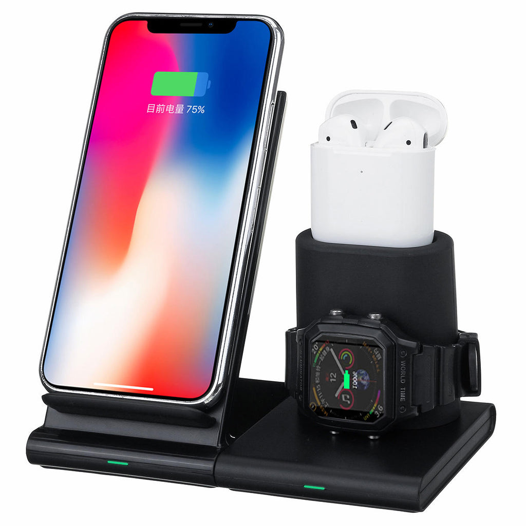 Charger Dock Pad Stand Holder 3 in 1 Magnetic Qi Fast Wireless iPhone Airpods Apple Watch - Carolina Superstore