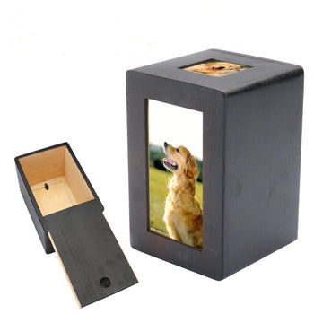 Pet Dog Cat Cremation Urn Memorial Keep Sake Peaceful Photo Box Rectangle Black - Carolina Superstore