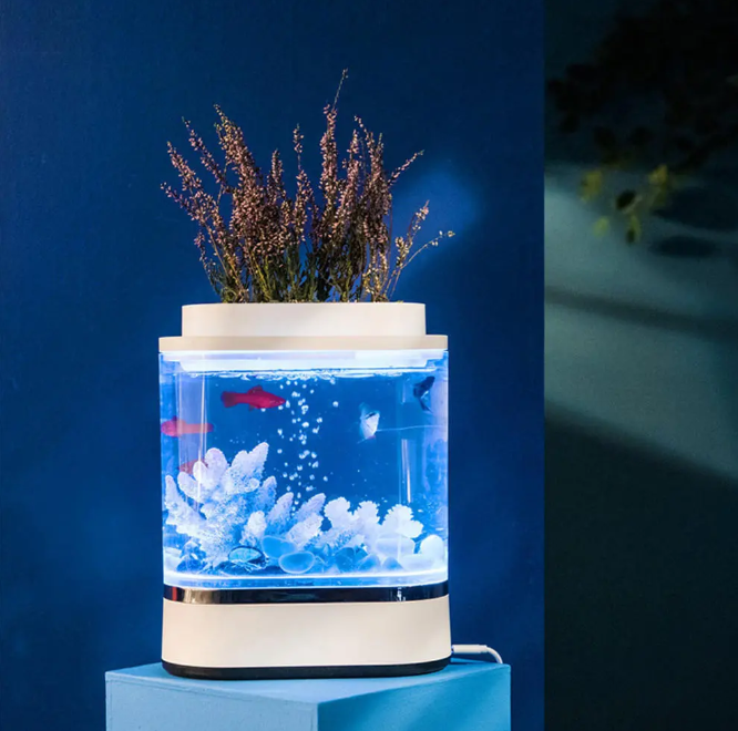 Hunters Creek™ Geometry Mini Lazy Fish Tank USB Charging Self-cleaning Aquarium with 7 Colors LED Light from Xiaomi Youpin - Carolina Superstore
