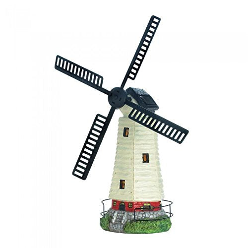 Solar Powered Old Windmill Lighthouse Home Decorative Accents Flower Cart - Carolina Superstore