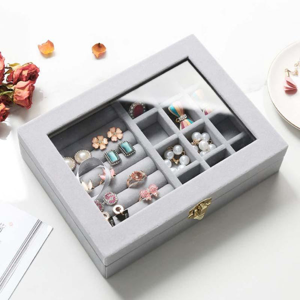 Hunters Creek™ Jewelry Keepsake Organizer Storage Box Dual Lock Ring Earring Flannel Material Dressing Table - Carolina Superstore