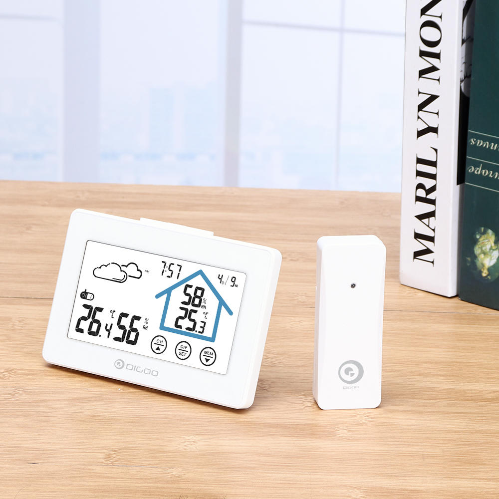 Touch Screen Weather Station Daily Clock Low battery Alarm Thermometer Hygrometer Outdoor Indoor Temperature Humidity Sensor - Carolina Superstore