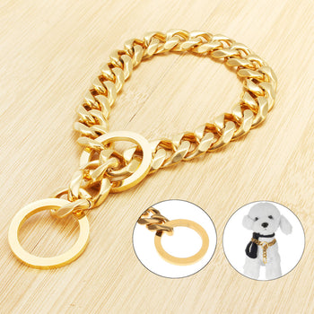 Stainless Steel Gold Chain Dog Necklace Pet Collar Puppy Training Curb 17mm - Carolina Superstore