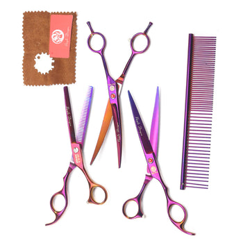 Hunters Creek™ 7 Inch Pet Grooming Scissors Set Double Curved Straight Thinning Cat Dog Fur Shaver Zipper Case - Carolina Superstore