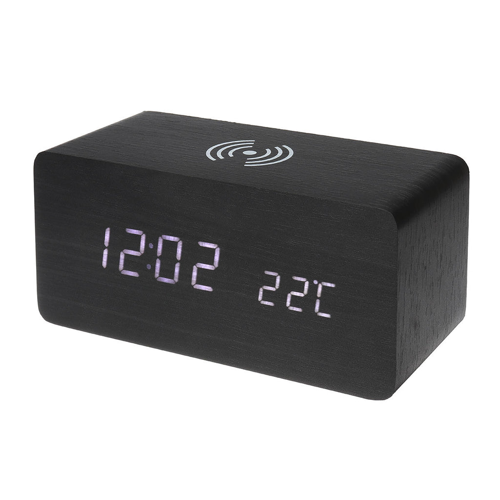 Modern Wooden Digital Alarm Clock & Thermometer 3 in 1 Wireless Charger & LED - Carolina Superstore