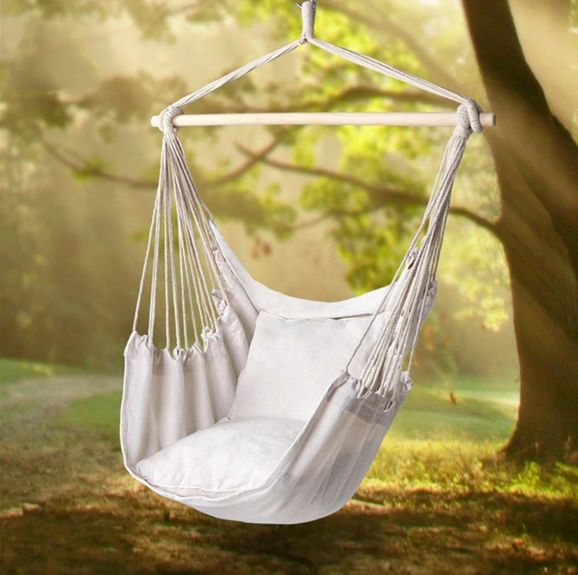 Hunters Creek™ Cotton Canvas Hanging Chair Outdoor Garden Swing Hammock Chair Camping Home - Three Light Colors without Remote - Carolina Superstore