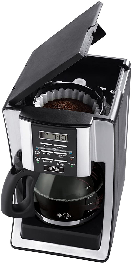 Mr. Coffee 12 Cup Programmable Coffee Maker with Thermal Carafe Option, Chrome - Carolina Superstore