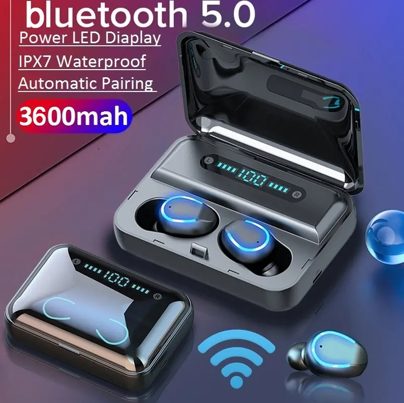 Hunters Creek™ Bluetooth 5.0 Sport Earphone LED Display Noise Reduction Headphone with Charging Box - Carolina Superstore