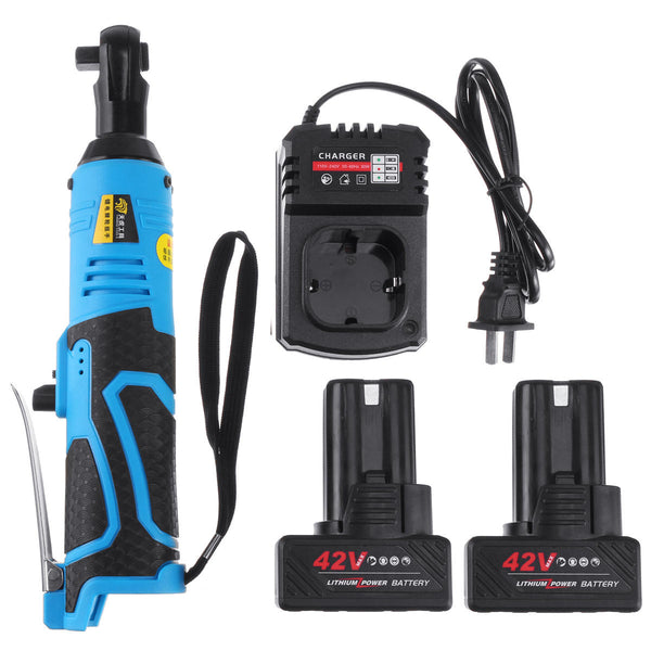"Hunters Creek™ 42V 90N.m 3/8"" Cordless Electric Ratchet Wrench Tool 2 x Battery & Charger Kit - Carolina Superstore"