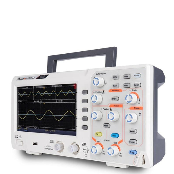 Oscilloscope Ultra Thin Dual Channel Digital Storage 100 MHz Bandwidth TFT Color Screen Automatic Waveform Measurement - Carolina Superstore