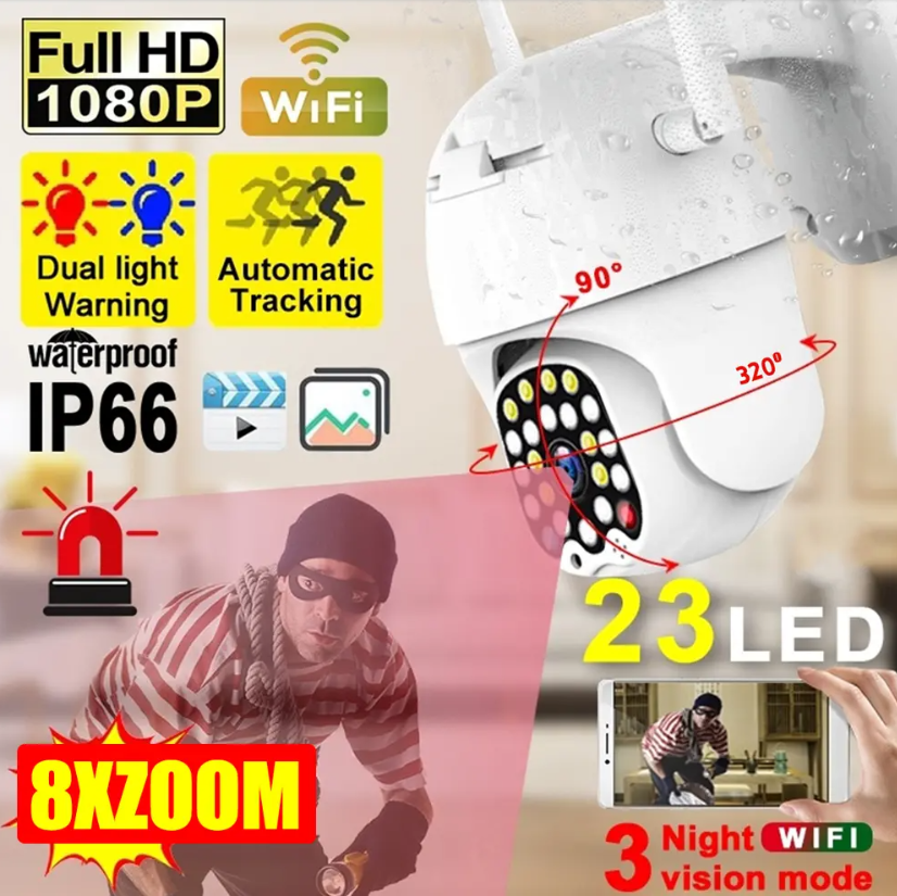 Hunters Creek™ Security Camera Outdoor LED 1080P HD Wifi IP Light & Sound Alarm Night Vision Waterproof - Carolina Superstore