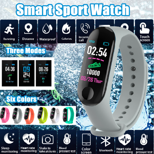 Smart Watch HD Color Screen Wristband Blood Pressure Heart Rate Monitor Running Route Track Camera Control - Carolina Superstore