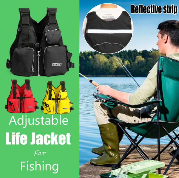 Hunters Creek™ Universal 53x39x20cm Nylon Adult Adjustable Life Jacket Mullti-functional Fishing Vest Jacket Tackle - Carolina Superstore