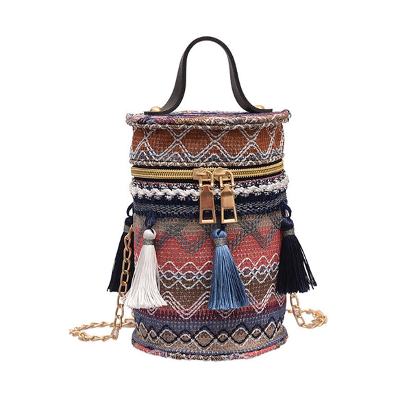 Hunters Creek™ 2.4L Women Handbag Straw Tassel Metal Chain Shoulder Bag Beach Tote Outdoor Travel - Carolina Superstore