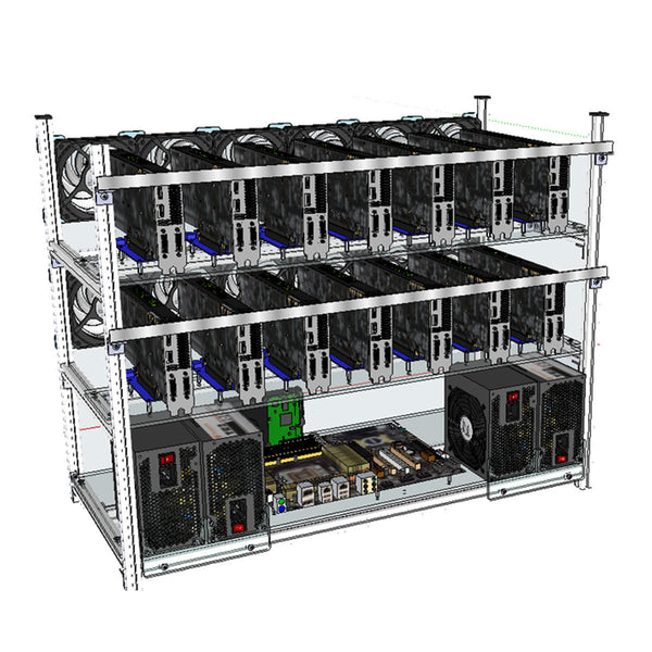 Hunters Creek™ Aluminum Open Air Mining Stackable Frame Rig Case 14 GPU For ETH Ethereum ZCash Bitcoin - Carolina Superstore