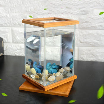 Mini Aquarium LED Lighting Clear Glass Fish Tank Container Office Desktop Decor! - Carolina Superstore