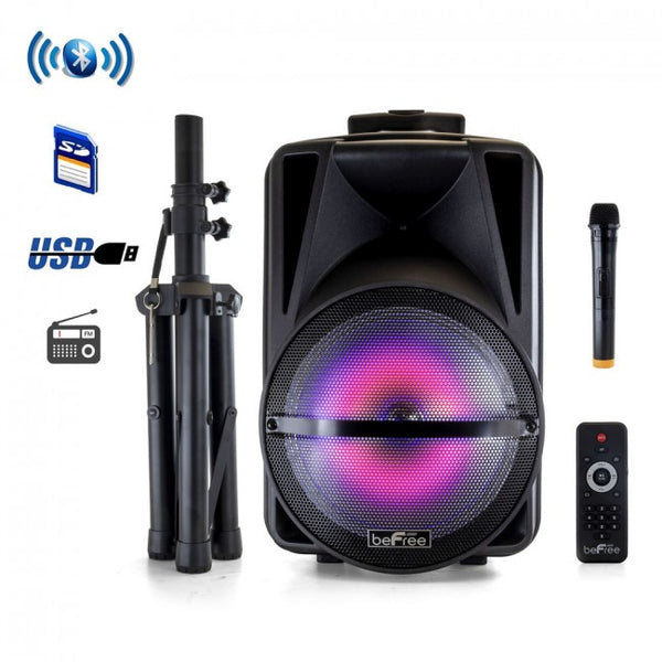 Hunters Creek Sound 12 Inch Bluetooth Rechargeable Portable PA Party Speaker Reactive LED Lights and Stand - Carolina Superstore