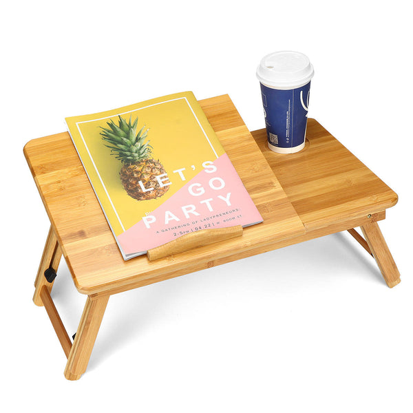 Hunters Creek™ Adjustable Laptop Desk Large Bed Tray Tilting Top Foldable Table Multi-tasking Stand Breakfast Serving Bamboo Table - Carolina Superstore